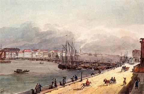 Кольман К. И., Исаакиевский мост через Неву. 1830-е годы.