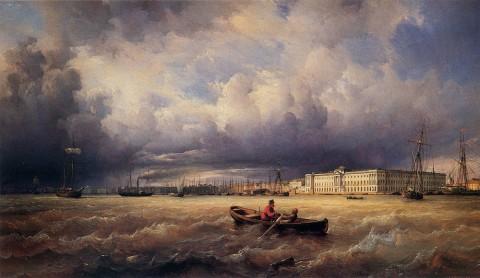 Перро Ф. В., Вид на Неву и Академию художеств. 1840 год.