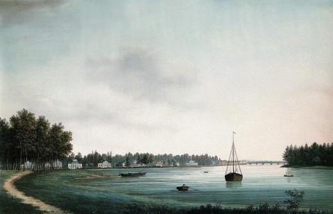Барт И. В., Вид набережной реки Крестовки на Каменном острове под Санкт-Петербургом. 1810-е годы.