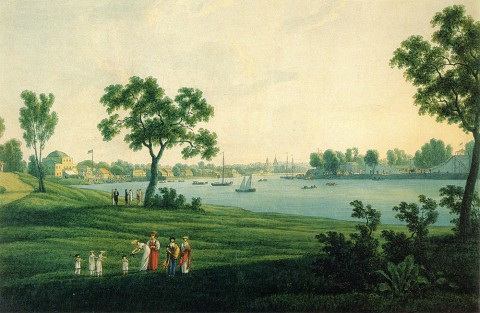 Мартынов А. Е., Вид на дачу Д. Л. Нарышкина и Крестовский остров. 1813 год.