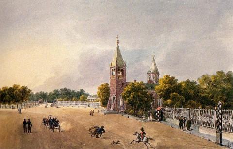 Кольман К. И., Вид на Каменноостровский проспект и церковь Иоанна Предтечи. 1830-е годы.