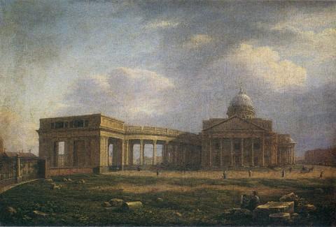 Воробьёв М. Н., Вид на Казанский собор с западной стороны. Около 1810 года.