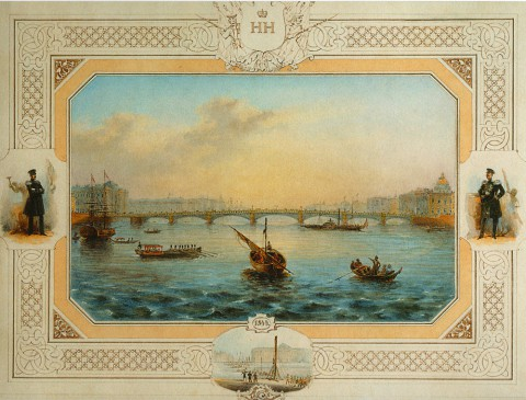 Садовников В. С., Благовещенский мост через Неву. Около 1850 года.