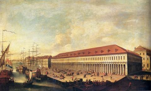 Неизвестный художник, Биржа и Гостиный двор. Третья четверть XVIII века.