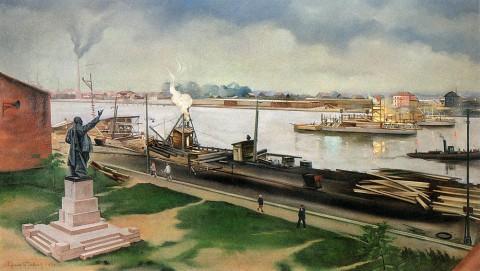 Павлов С. А., Строительство Володарского моста. 1934 год.