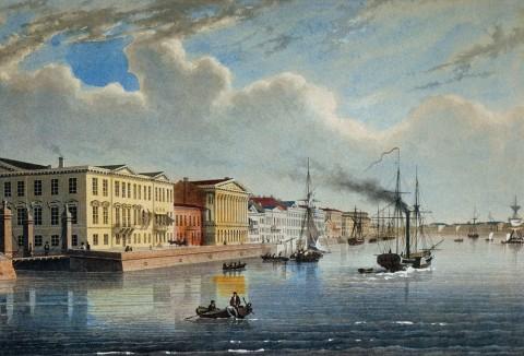 Мартенс Ф., Вид Английской набережной. Первая половина XIX века.