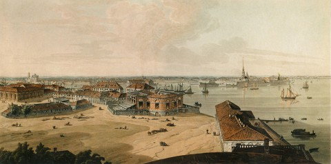 Аткинсон Д. А., Вид на Стрелку Васильевского острова. 1805-1807 годы.