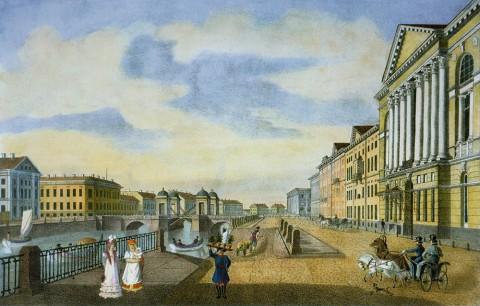 Александров П. А., Вид старого Аничкова моста и дома Нарышкина на Фонтанке. 1825 год.