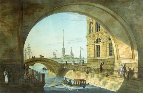 Неизвестный художник, Вид на Эрмитажный мост. 1820-е годы.