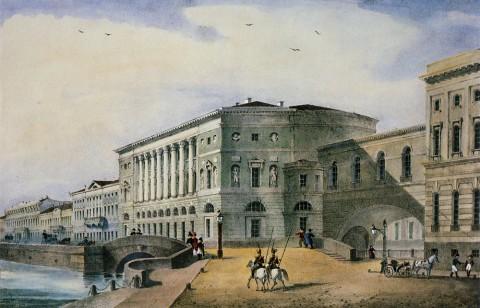 Неизвестный художник, Вид на Эрмитажный театр с Васильевского острова. 1824-1827 годы.