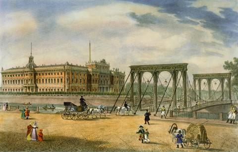 Неизвестный художник, Вид на Пантелеймоновский цепной мост у Летнего сада. 1825 год.