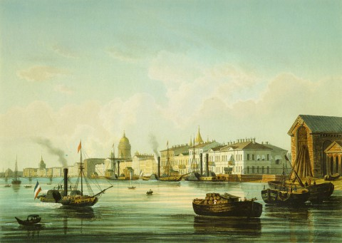 Шарлемань И. И., Вид на Английскую набережную. 1850-е годы.