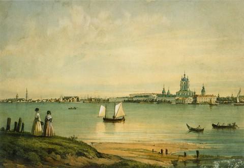 Перро Ф. В., Вид с Охты на Смольный монастырь. После 1841 года.