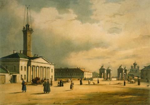 Перро Ф. В., Вид Калинкинской площади и Старо-Петергофского моста. 1840-е годы.