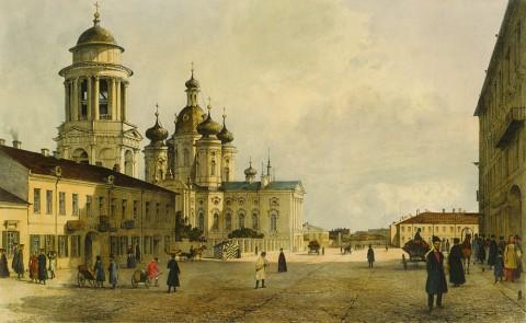 Перро Ф. В., Вид на церковь Владимирской Божией Матери со стороны Владимирской улицы. 1841 год.