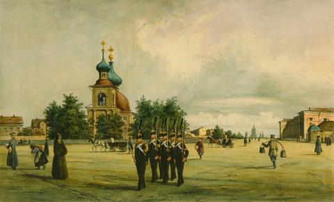 Перро Ф. В., Вид на Троицкую церковь на Петроградской стороне. Начало 1840-х годов.