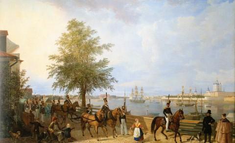 Неизвестный художник, Панорама Невы вверх по течению у Смольного монастыря. Конец 1830-х годов.
