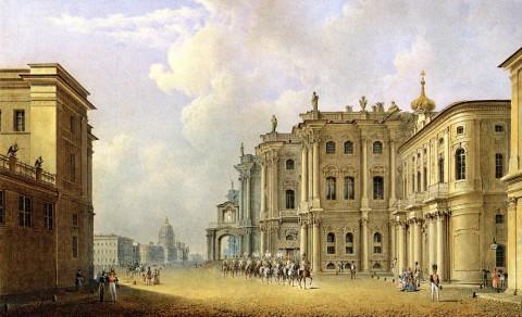 Садовников В. С., Вид Дворцовой площади с Миллионной улицы. 1830-е годы.