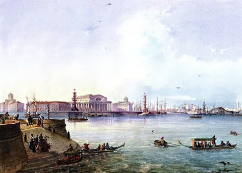 Бонштедт Л., Вид стрелки Васильевского острова. 1847 год.