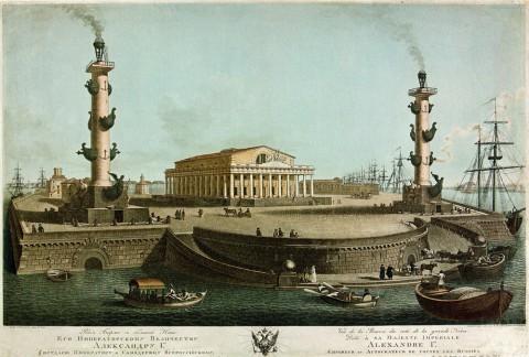 Ческий И., Вид Стрелки Васильевского острова в Санкт-Петербурге с Невы. 1816 год.