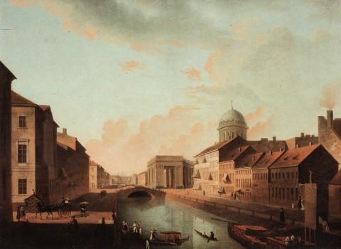 Мартынов А. Е., Вид на Казанский собор со стороны Екатерининского канала. 1810-е годы.