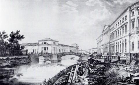 Беггров К. П., Вид моста, построенного через реку Мойку в устье Екатерининского канала. 1828 год.