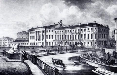 Беггров К. П., Вид цепного моста, построенного в 1826 году на Екатерининском канале между Вознесенским и Харламовым мостами. 1820-е годы.