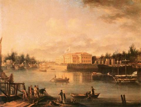 Шедрин Семён Ф., Вид на Каменноостровский дворец через Большую Невку со стороны Строгановской набережной. 1803 год.