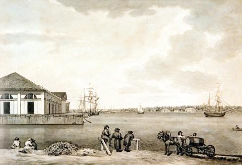 Галактионов С. Ф., Склады Винного городка на Малой Неве. Начало 1820-х годов.