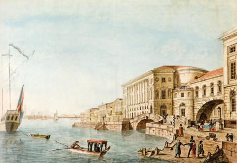 Неизвестный художник, Вид Дворцовой набережной у Эрмитажного театра. Конец 1820-х годов.