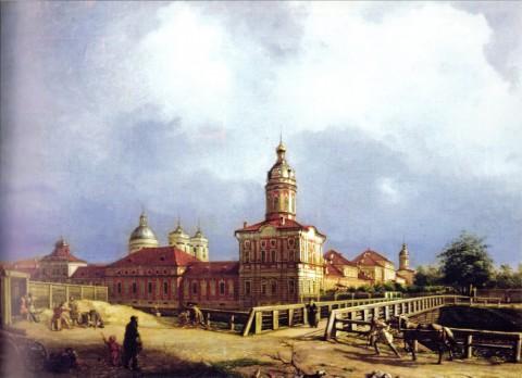 Максимов А. М., Вид Александро-Невской лавры с правого берега реки Монастырки. 1837 год.