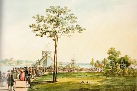 Неизвестный художник, Катальные горы на Крестовском острове. 1810-е - начало 1820-х годов.