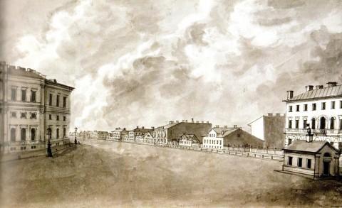 Фосс А., Перспектива Лиговского канала от Знаменской площади. 1850 год.