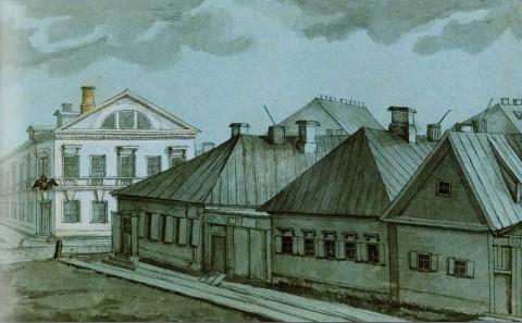 Фосс А., Вид Первой Госпитальной улицы у пересечения с Ново-Сампсониевским проспектом на Выборгской стороне. 1844 год.
