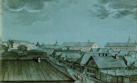 Фосс А., Перспектива Первой Госпитальной улицы в сторону Военного сухопутного госпиталя на Выборгской стороне. 1842 год.