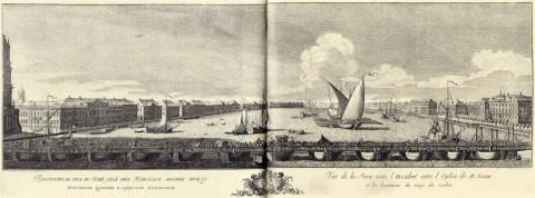 Махаев М. И., Проспект в низ по Неве реке от Невского моста между Исакиевской церковью и корпусом кадетским. 1749-1750 годы.