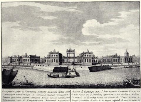 Махаев М. И., Загородный двор на Каменном острову по Малой Неве. 1754 год.