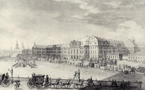 Махаев М. И., Проспект Зимняго дому к полудню, что нынче ломают. 1750 год.