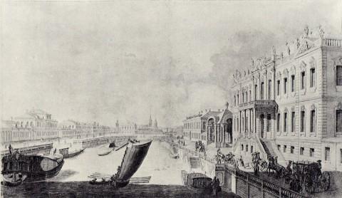 Махаев М. И., Проспект в верх по Мойке речке от двора Его Сиятельства графа Петра Ивановича Шувалова. 1757-1759 годы.