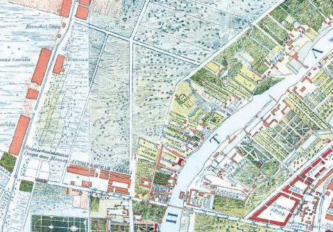 Начало Большой Загородной улицы, 1738 год.