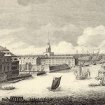 Фрагмент гравюры Махаева. Зимний дворец и Адмиралтейство со стороны Невы