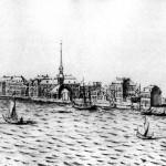 Вид набережной Васильевского острова с Воскресенской церковью