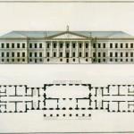 Главный фасад и план первого этажа Академии наук