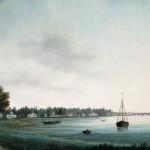 Вид набережной реки Крестовки на Каменном острове под Санкт-Петербургом