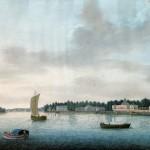 Вид набережной Малой Невки на Каменном острове под Санкт-Петербургом