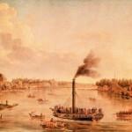 Вид петербургских островов и Невы с одним из первых русских пароходов
